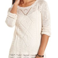 Crochet-Trimmed Pointelle Pullover Sweater by Charlotte Russe - Ivory