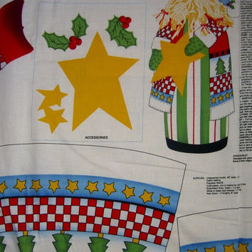 "Christmas fabric panel Santa Claus Doll to sew Alma Lynn craft with instructions sewing material BTY 25"" high"