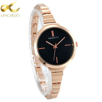 Lancardo Fashion Rose Gold Women Watches 2017 Simple Ultra Thin Quartz Watch Woman Elegant Dress Ladies Watch Hot Montre Femme