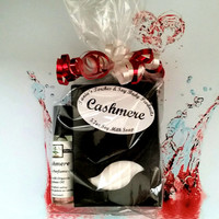 Womens Valentines Gift Set, Natural Soap and Organic Perfume Oil Cashmere Scent, Ready to Ship Valentine's Day Gift
