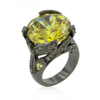 Hematite Yellow Stone Cocktail Ring-CasaMom's Everything
