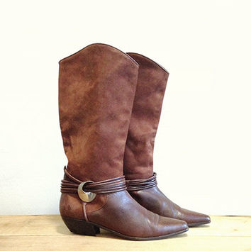 Vintage Brown Leather & Suede Boots -- Via Spiga -- Tall Riding Boots -- Two Tone -- 80s Western Boots -- Made in Italy -- Womens 7.5 / 8