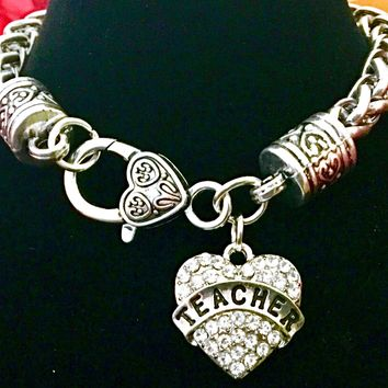 Teacher Rhinestone Heart Bracelet~Crystal Heart Pendant~End of Year Gift~Handmade in the USA~FAST Shipping from the USA