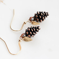 Tiny Leaf Pine Cone Earrings Christmas Gold Minimal Leaves Antiqued Copper Brown Pinecone Nature Woodland - E188