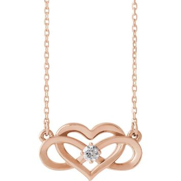 14k Yellow, White or Rose Gold Diamond Infinity Heart Necklace 16-18in