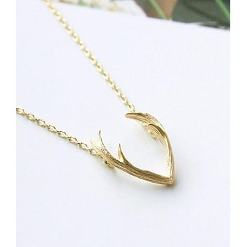 Jisensp 2017 New Fashion Deer Horn Antler Necklace Jewelry Simple Elegant Horn Necklace Antler  Tiny Cute Pendant Necklace N056