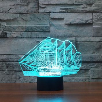 creative 3d sailing ship shape 7 color led night light usb table desk lamp decor  number 1