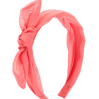 Coral Fabric Bow Alice Band