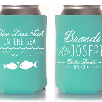 Custom Wedding Koozie - Two Less Fish in the Sea