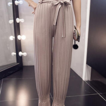 New Women Pants summer Solid Color loose pleated Harem Pants Trousers-0705