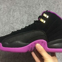 2016 Girls Air Jordan 12 Gg Hyper Violet Black-purple 510815-018 - Beauty Ticks