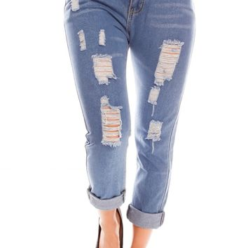 BLUE CUTOUT LOOK FRONT REAR POCKETS CASUAL JEANS