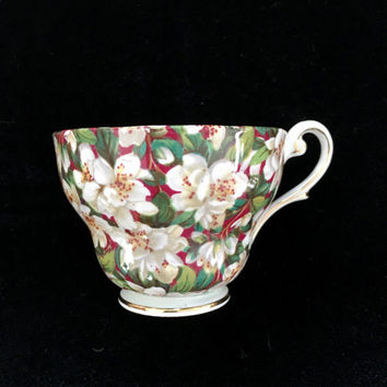 Vintage 1950's Chintz Tea Cup, Royal Standard, Mismatched China, Replacements, Chintz China Teacup, Shabby Chic Decor, Green Tea Cup