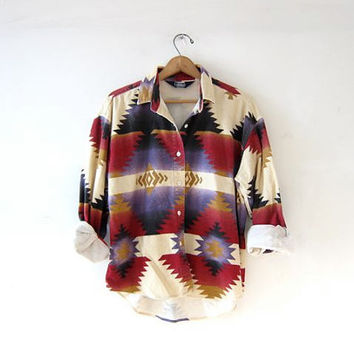 Vintage tribal shirt. southwestern flannel shirt. button up shirt.