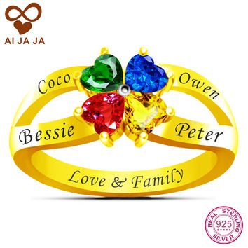 AIJAJA Real Sterling Silver Personalized Name & Birthstone Flower Mom Ring, Free Engraving & 4 Heart Stones Family Mother Rings