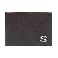 Gucci Ace Leather Mini Bi-Fold Wallet, Brown