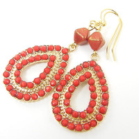 Gold Boho Earrings with Red Beads, Red Drop Earrings, Red Gold Bead Earrings
