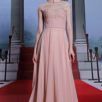 Pink Cap Sleeves Keyhole Formal Prom Evening Pageant Dress