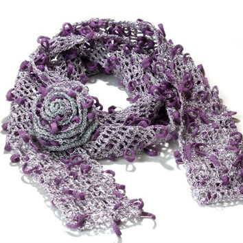 Crochet Lace scarf with brooch, Purple, Silver, Crochet scarf, summer long scarf, scarflette, lacy scarf, bohemian scarf, mori girl