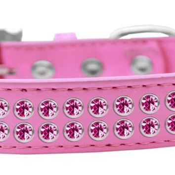 Two Row Bright Pink Crystal Size 12 Bright Pink Dog Collar