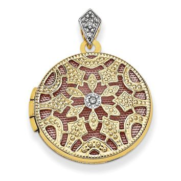 14k Gold 20mm Round w/Diamond Vintage Locket
