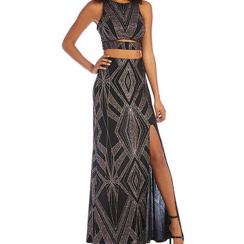 Jump Glitter Pattern Faux Two-Piece Long Dress | Dillards