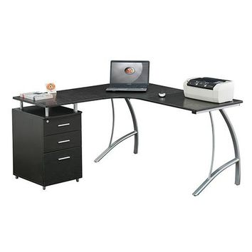 Techni Mobili L Shape Corner desk with File Cabinet