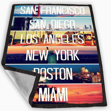 Cities La Miami Boston Ny Sd Sf Retro Blanket for Kids Blanket, Fleece Blanket Cute and Awesome Blanket for your bedding, Blanket fleece **