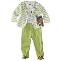 TaGgiEs Infant Boys' 3 Piece Set with Novelty Feet - Green/Brown
