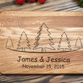 Personalized Cutting Board, Wedding Gift, Engagement Gift, Engraved Wooden Chopping Block, Kitchen Decor, Family Tree