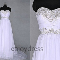 Custom White Applique Beaded Long Prom Dresses Wedding Dresses Bridal Gowns Fashion Party Dress Evening Gowns Fashion Evening Dresses