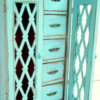 Shabby Flea Market Chic Jewelry Box in Turquoise