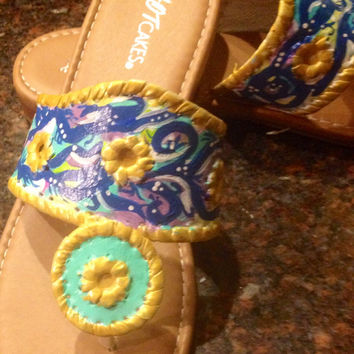 Hand painted sandals inspired by the look of Jack Rogers. These are a one of a kind design and are a Size 7.5