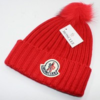 Moncler 2018 autumn and winter fashion hair ball knit hat wool cap F0908-1 Red