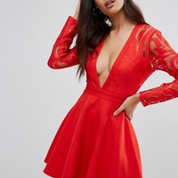 Missguided Plunge Lace Sleeve Skater Dress at asos.com