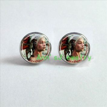 HZ4-00102 1pair Game of Thrones pierced earrings Daenerys Mother of Dragons eardrops House of Targaryen jewelry glass Cabochon