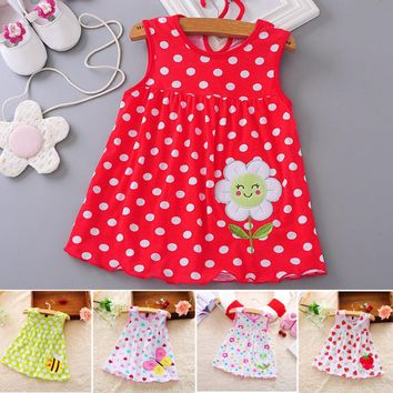 Toddle Baby Girls Dress Summer Beach Style Floral Print Party Princess Dresses Sundress For 0-1Y Baby Girls