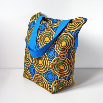 African Kitenge Packable Tote Bag (Blue)