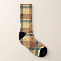 Metallic Brown Yellow Plaid Pattern Socks