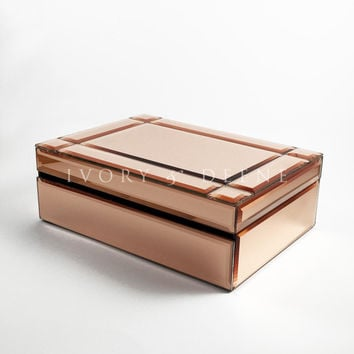 Rose Gold Jewellery Box Mirror Glass With Bevelled Edges