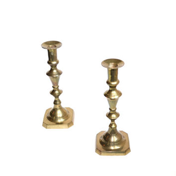 Brass Candle Holders Set of 2 Brass Candlesticks Gold Candlesticks Candlesticks Tall Candlesticks Wedding Candles Wedding Decor