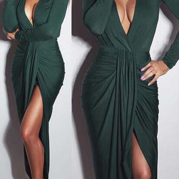Solid Color Plunging Long Sleeve Ruched Maxi Dress