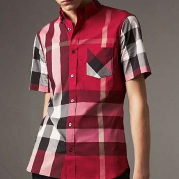 Burberry fashion short sleeve top blouse shirt