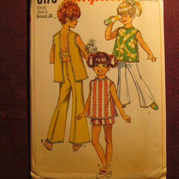 Uncut 1960's Simplicity Sewing Pattern, 8170! Size 6 Child/Girls/Kids/Child/Bell Bottom Pants/Shorts/Elastic Waist/Sleeveless open back Top