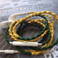 Green Bay Packers Colors Earbuds/ Wrapped / Tangle Free - by MyBuds