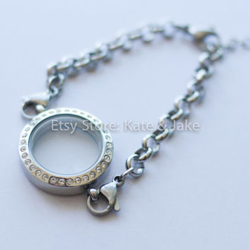 New high quality crystal 25mm Floating Memory Charm Magnetic Living Locket charm bracelet