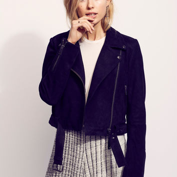 Free People Cropped Suede Moto Jacket