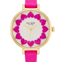 Women's kate spade new york 'metro' heart dial leather strap watch, 34mm - Pink/ Gold