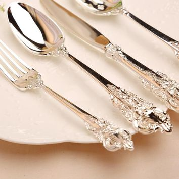 KTL 24 Pcs/lot Classical Dinnerware Set Top Quality 304 Stainless Steel Dinner Knife Fork Teaspoon flat-ware Cutlery Set