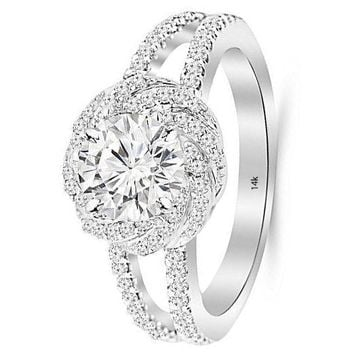 .1.25 Carat 14K White Gold Pave Set Halo Style Floral Split Shank GIA Certified Round Cut Diamond Engagement Ring (0.75 Ct D Color VS1 Clarity Center Stone)